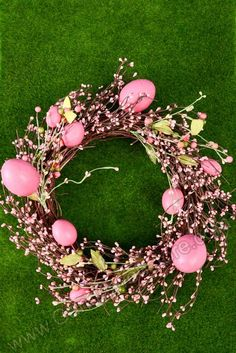 """18"""" MIXED EGG & BERRY WREATH PINK - GandGwebStore.com Berry Wreath, Cute Bunny, Door Wreaths, Berries, Projects To Try, Floral Wreath, Egg, Easter, Seasons"""