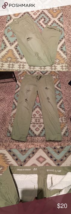 Distressed boyfriend khakis Perfect with a top and wedges. Distressed and super comfy. Light green khaki color. Gap Pants Straight Leg