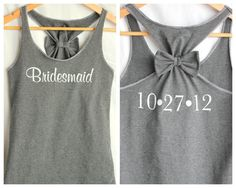 Bridesmaid Tank with Bow and Wedding Date by personTen on Etsy, $35.00