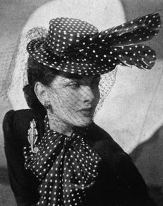1940s polka dot hat and matching scarf