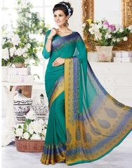 Green Color Georgette Casual Wear Sarees : Snigdha Collection YF-29665