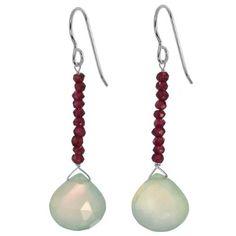 Ashanti Sterling Silver Mint Green Chalcedony and Rhodolite Garnet Natural Gemstone Handmade Earrings Item No. AJ-EA077GMCH