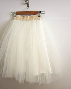 Ivory Tulle Tutu Skirt For Women Gold Waistband Classic by MinaRha
