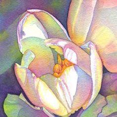 Tulipes de Tracy Lewis. Couleurs hors de l'ordinaire mais la lumière apporte de la grande fragilité à ses fleurs.
