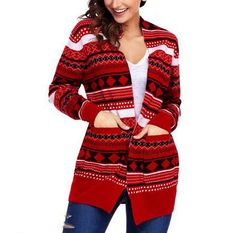 2df4236d2f Geometric Christmas cardigan for women red and green sweater