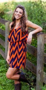 Orange and navy chevron dress