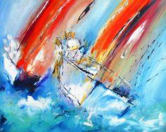 Wall art of Sailboats yatchs signed and numbered wall art prints,semi abstract wall art of sailing boats, www.pixi-art.com trawler yatch