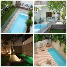Long, surrounded by woods and greenery. Small Inground Pool, Small Backyard Pools, Swimming Pools Backyard, Swimming Pool Designs, French Pool, Mini Piscina, Moderne Pools, Little Pool, Small Pool Design