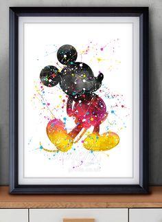 Disney Classic Mickey Mouse Aquarell Kunst Poster drucken Wanddekoration www . Disney Art Diy, Disney Wall Art, Disney Home Decor, Arte Disney, Disney Mickey, Disney Kunst, Disney Crafts, Disney Tattoos, Watercolor Disney
