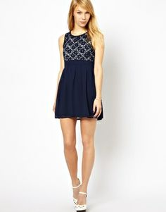 Image 4 ofYumi Skater Dress With Lace Top