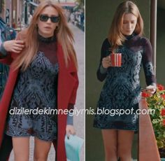 Medcezir - Mira (Serenay Sarıkaya), Burgundy Coat and Mini Dress