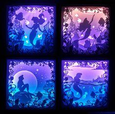 Little Mermaid - 3 [ inch ] - Paper Cutting Light Box Template files Shadow Box Kunst, Shadow Box Art, Shadow Box Frames, Shadow Light Box, Paper Cutting, 3d Paper, Paper Crafts, Foam Crafts, Minecraft Decoration