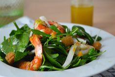 Ensalada de gambas y espinacas con aliño de sésamo y cítricos // Shrimp and spinach salad with sesame and citrus dressing