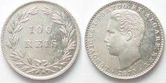 1875 Portugal PORTUGAL - PATTERN 100 Reis 1875 LUIZ I silver PROOF RRR!!! # 96485 Proof