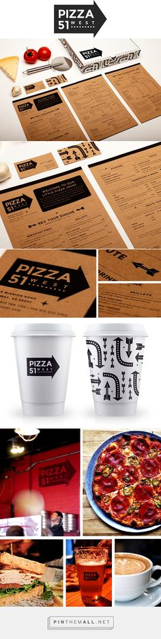 Pizza 51 packaging and branding Identity on Behance by Jennifer Tierney Kansas City, MO curated by Packaging Diva PD. Pizza 51 West is a local pizzeria with a casual atmosphere. The restaurant is located in what was once an old gas station.