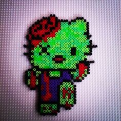 Zombie Hello Kitty perler beads by hadavedre