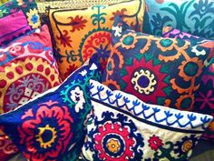 Colorfull boho handicraft tribal pillows ~ Suzani style