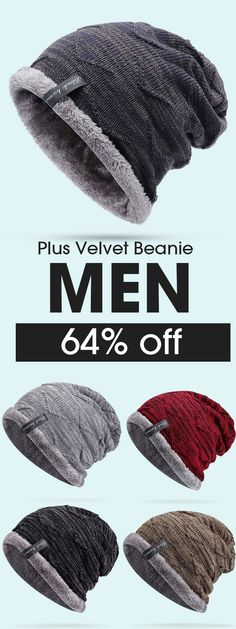 Mens Plus Velvet Knitted Stripe Beanie Hats Outdoor Winter Warm Skullies 3c74af79c75c