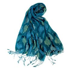 Teal scarf with a speckled spade print.   Product: ScarfConstruction Material: Polyester, rayon, nylon and wool...