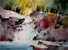 At the Top of the Falls by sterling edwards Watercolor ~ 22 x 30