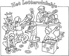 Kleurplaat van het letterwinkeltje Writing Worksheets, Early Literacy, Dramatic Play, Working With Children, Colouring Pages, Child Development, Pre School, 2 Colours, Spelling