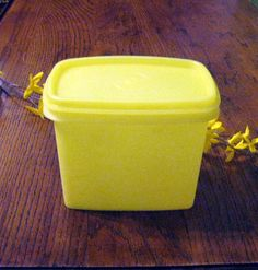 Tupperware storage container,Rectangle Tupperware,Yellow Tupperware,Kitchen containers,Picnic storage at Designs By Willowcreek on Etsy Tupperware Storage, Kitchen Storage Containers, Snack Containers, Jar Storage, Ikea Hacks, Table Ikea, Container Shop, Baking Items, Floating