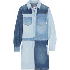 Steve J & Yoni P Patchwork denim shirt dress ($430) ❤ liked on Polyvore featuring dresses, denim, vestidos, patchwork denim dress, mini dress, push up dress, blue denim dress and blue dress