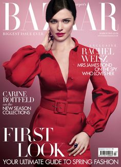 Here's a first look at Rachel Weisz wearing Gucci on the March 2013 cover of Harper's Bazaar UK. This is going to be Harper's Bazaar UK biggest issue, with over 400 pages.