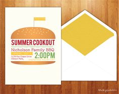 Summer BBQ - Cookout - 4th of July Picnic - 5x7 Printable JPEG Invitation by blushprintables By DIY Wedding Bespoke invitations by Blush Printables