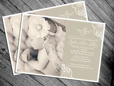 Lace Vintage Baptism Invitation  Other Colors by MrsInvitation, $15.00