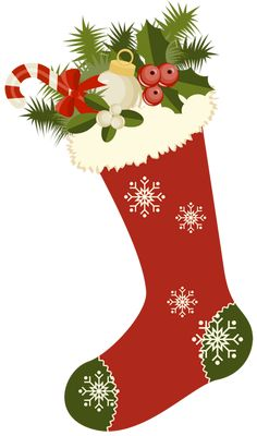 Red Retro Christmas Stocking PNG Picture Clipart