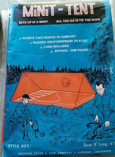 VTG MINIT-TENT & Campers Ground Cloth by Sunshine Cover & Tarp Co NOS #MinitTent #Pyramid