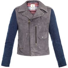 MiH Jeans Leather and denim jacket ($959) ❤ liked on Polyvore