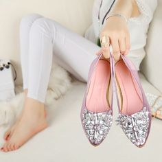 NEW Fashion 2016 Flats Shoes Women Ballet Princess Shoes  Boat Shoes Rhinestone Women SHOES