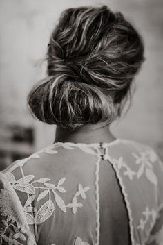 bridal hair - low chignon