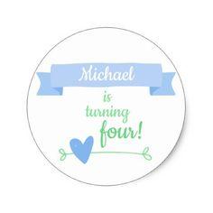 Boy's Birthday Celebration Classic Round Sticker - fun gifts funny diy customize personal