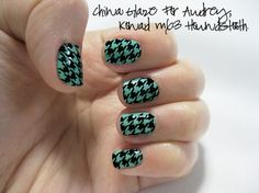 China Glaze For Audrey with Konad Houndstooth Nail Design Tutorial