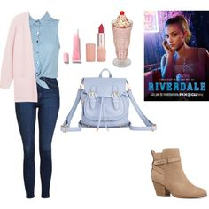 A fashion look from February 2017 featuring pastel pink cardigan, dot blouse and blue high waisted jeans. Browse and shop related looks. Betty Cooper Style, Betty Cooper Aesthetic, Betty Cooper Outfits, 90s Outfit, Girly Outfits, Cute Outfits, Riverdale Set, Riverdale Halloween Costumes, Betty Cooper Riverdale