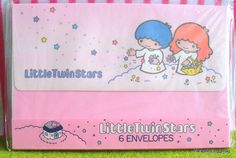 A set of vintage Sanrio Little Twin Stars stationery paper envelopes with illustrations of Kiki and Lala. The kawaii fancy good items was made in 1976 in Japan.