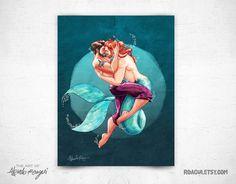 Sailor and Merman Full Dark   8x11 Print by roagui on Etsy