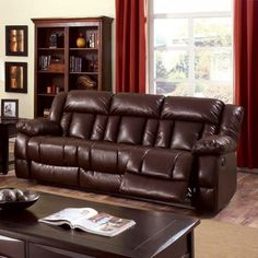 There are those days when the couch beckons. Give in to total relaxation on the Furniture of America Bostwick Recliner Sofa . This comfortable sofa has. Faux Leather Sofa, Leather Reclining Sofa, Bonded Leather, Brown Leather, Reclining Sectional, Red Sofa, Comfortable Sofa, Sofa Furniture, Velvet Furniture