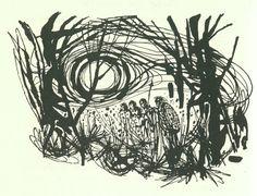 elidor by Alan Garner, illustrated by Charles Kkeeping Alan Garner, High Fantasy, Mark Making, Narnia, Embedded Image Permalink, Golden Age, Art Drawings, Vintage, Masks