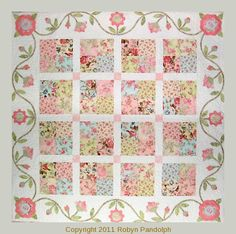 Flirtatious quilt pattern by Robyn Pandolph I love romantic fabrics. I love piecing with applique. Why don't I do more?