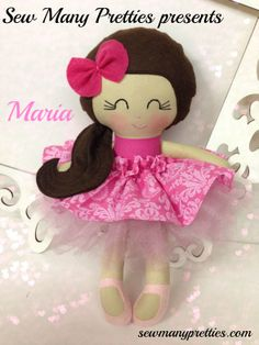 This is a 15 inch Doll that is part of the Dressy Doll collection from Sew Many Pretties.  This cutie is handmade from 100% cotton fabrics and wool blend felt for her hair and long pigtail.  Facial features are hand embroidered.  Her top skirt is removable with a velcro closure. Pink puffy tu..