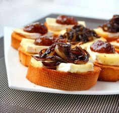 Crostini with Camembert, Caramelized Onions and Fig Jam