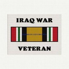 BUY 2 GET 1 FREE IRAQ WAR VETERAN MILITARY RIBBON CROCHET PATTERN GRAPH by cozyconcepts