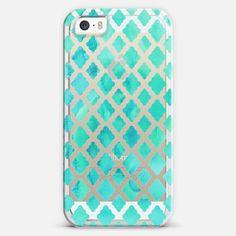 Mint Green Watercolor Diamond Pattern - transparent iPhone 5s case