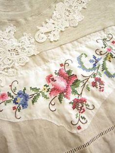 cross stitch embroidery x Cross Stitch Tree, Cross Stitch Borders, Cross Stitching, Cross Stitch Embroidery, Hand Embroidery, Cross Stitch Patterns, Stitch Crochet, Linens And Lace, Needlework