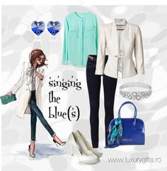 """Singing the blue(s)"" by diana-luxurygifts on Polyvore"