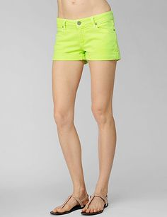 neon green: most comfortable pair of jean shorts I have worn